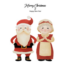Merry Christmas And Happy New Year With Santa Claus And His Wife Mrs. Claus Standing Together. Watercolor Design On White Background Vector Illustration