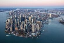 Aerial View Of Lower Manhattan...