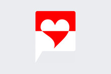 Bubble Icon Speech With Red And White Love Icon