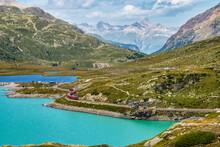 Bernina Express At The White Lake In Ospizio Bernina, Engadin, Switzerland