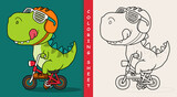 Fototapeta Dinusie - Cool dinosaur riding a bicycle.