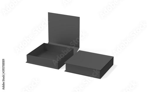 Black blank hard cardboard box mock up template, 3d illustration. Tapéta, Fotótapéta