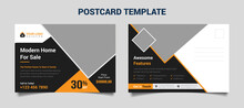 Real Estate EDDM Postcard Template With Orange And Black Color For Real Estate Business Fully Editable File