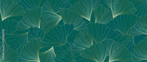 Cuadros en Lienzo Golden Ginkgo leaves botanical modern art deco wallpaper background vector