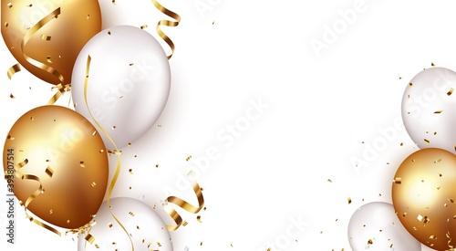 Fototapeta Celebration banner with gold confetti and balloons obraz