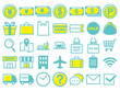 ショッピングと旅行に関連するアイコンのセット-Shopping and travel icons