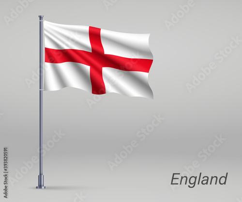 Fotografie, Tablou Waving flag of England - territory of United Kingdom on flagpole
