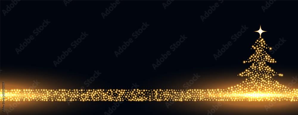 Fototapeta merry christmas golden sparkles tree banner design