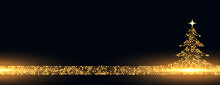 Merry Christmas Golden Sparkles Tree Banner Design