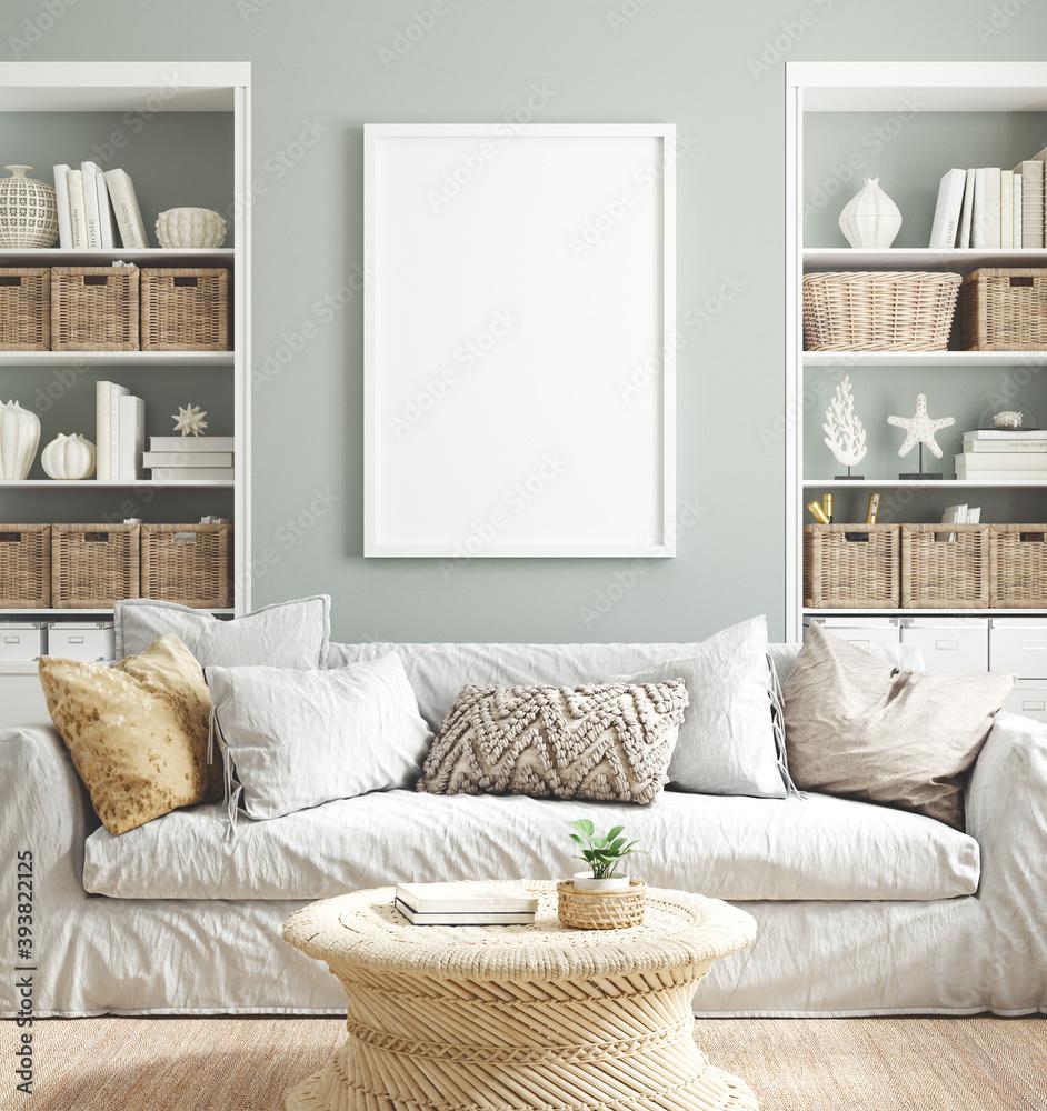 Fototapeta Mockup poster frame in cozy home interior background, 3d render