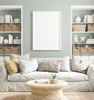 canvas print picture Mockup poster frame in cozy home interior background, 3d render