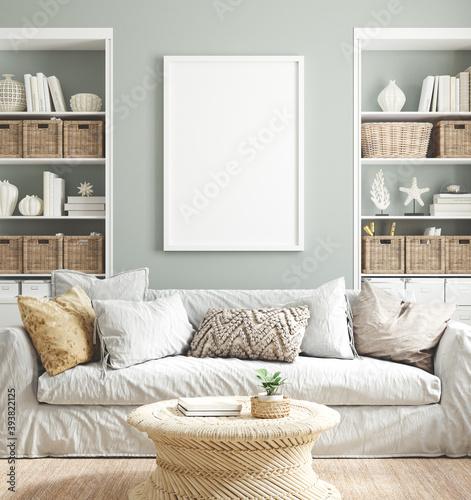 Fototapeta Mockup poster frame in cozy home interior background, 3d render obraz