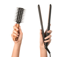 Woman Hands, Round Hair Brush And Straightener On White Background