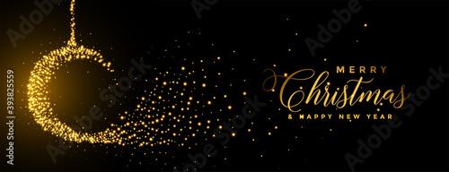 Fotografía merry christmas sparkles ball golden festival banner