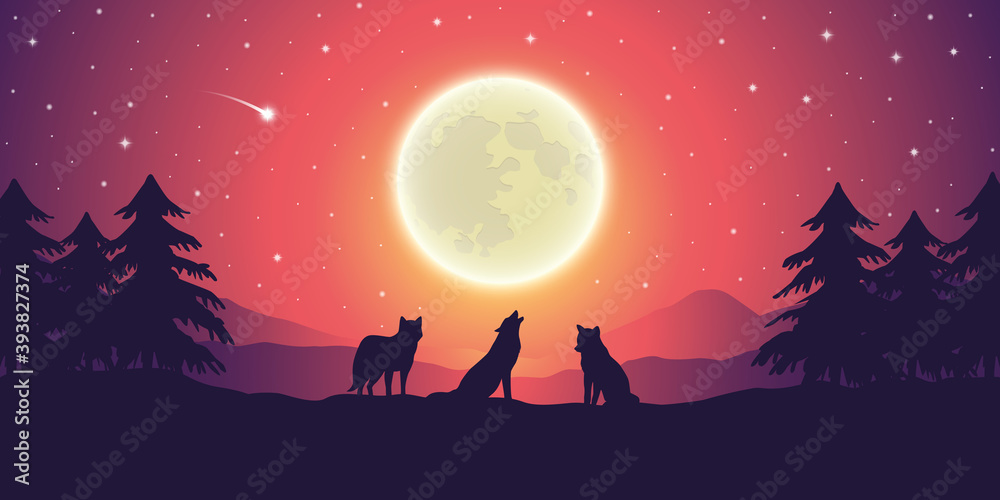 Fototapeta two wolves at purple mountain landscape with full moon and starry sky vector illustration EPS10
