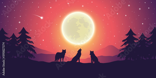 Obraz two wolves at purple mountain landscape with full moon and starry sky vector illustration EPS10 - fototapety do salonu