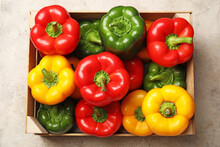 Fresh Bell Peppers In Box On L...