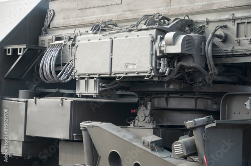 Close up of green military truck. Modern military transportation vehicle technologies