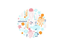 Poster Of The Sea World, Vector Illustration Of Fish, Whale, Jellyfish, Squid, Stars, Seashells, Corals