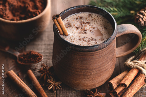 Fototapeta Cup of Hot Chocolate With Cinnamon Stick obraz