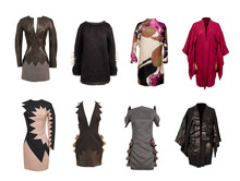 Set Of Various Skirts And Colored Blouses On White Background