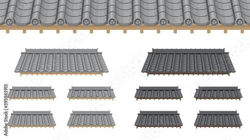 瓦屋根のイラストセット_和風素材