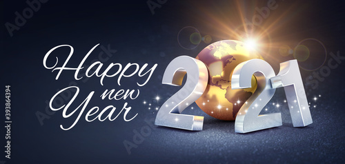 Happy New Year greeting and silver date 2021 composed with a gold planet earth, glittering on a black background