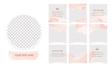 Set Of Editable Minimal Square Instagram Social Media Posts Templates. Abstract Background With Pastel Pink Brush Strokes. Suitable For Social Media Posts, Puzzle Feed, Mobile Apps, Sale Web Banners