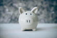 Close-up Of Piggy Bank On Table