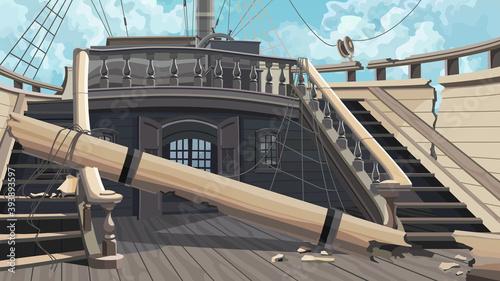 Leinwand Poster beautiful cartoon dilapidated vintage wooden ship with broken mast
