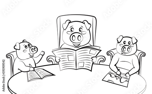 Foto Family of pigs at the table, dad reads the newspaper, children write and draw