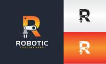 Initials R Robot Arm Logo