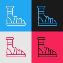 Pop Art Line Slippers With Socks Icon Isolated On Color Background. Beach Slippers Sign. Flip Flops. Vector.