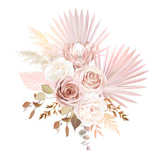 Trendy Dried Palm Leaves, Blush Pink Rose, Pale Protea, White Ranunculus