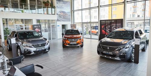 Vinnitsa, Ukraine -October 19, 2020. Peugeot 2008, 3008 and 5008 - new model cars presentation in showroom - front view