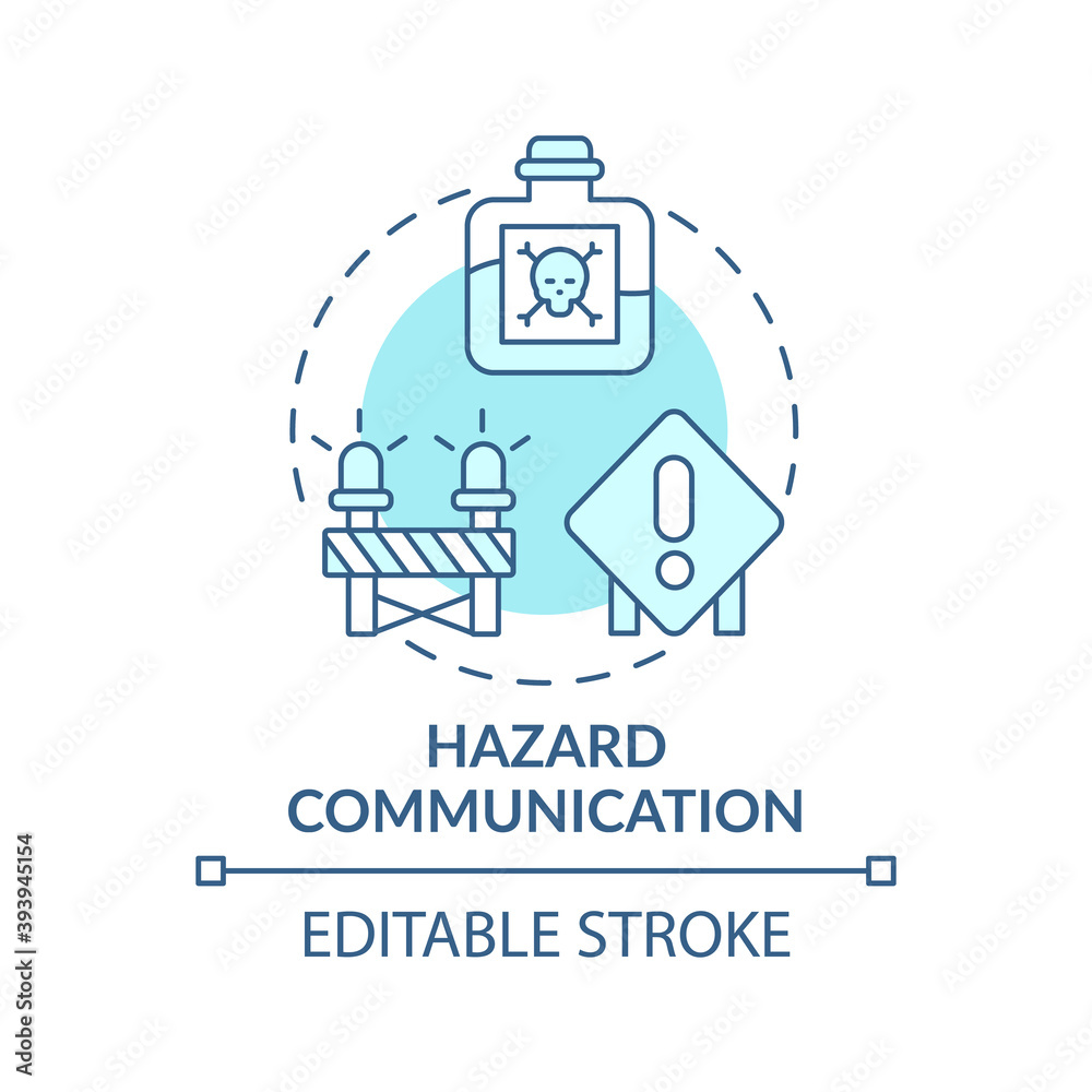 Fototapeta Hazard communication concept icon. Top workplace safety violations. Processes that employers control in work idea thin line illustration. Vector isolated outline RGB color drawing. Editable stroke