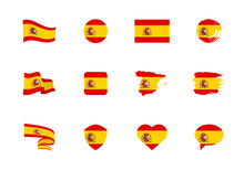 Spain Flag - Flat Collection. Flags Of Different Shaped Twelve Flat Icons.