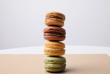 Delicious Macarons On Craft Pa...