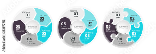 Papel de parede Modern Round Chart 3D Infographic Template with a Five Steps for Success