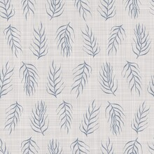 Seamless French Farmhouse Foliage Linen Pattern. Provence Blue White Woven Texture. Shabby Chic Style Decorative Leaf Fabric Background. Textile Rustic All Over Print