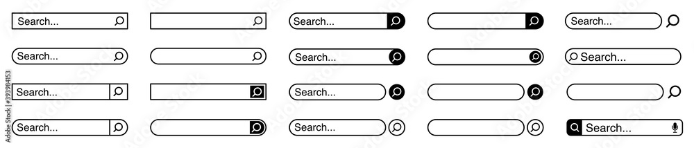 Fototapeta Web search bars set. Search bar, search boxes collection.Vector set computer illustration searched navigator. Set of elements for design interface of website. Vector illustration.