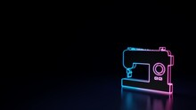 3d Glowing Neon Symbol Of Symbol Of Sewing Macine Isolated On Black Background