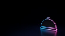 3d Glowing Neon Symbol Of Symbol Of Platter Isolated On Black Background
