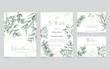 Greenery wedding invitation with eucalyptus leaves background