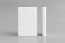 Two Hardcover Vertical White Mockup Books Standing On The White Background. Blank Front Cover And Spine Of Book.