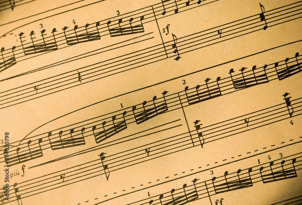 Fototapeta Music Notes on Staves Close-Up