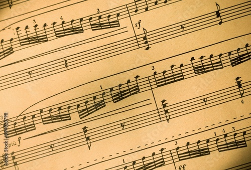Music Notes on Staves Close-Up