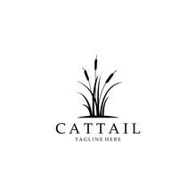 Cattail Logo Vector Illustration Design, Cattail Silhouette Vector Design