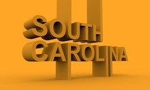 Image Relative To USA Travel. South Carolina State Name In Geometry Style Design. Creative Vintage Typography Poster Concept. 3D Rendering