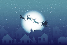 Santa Claus On A Sleigh  Flying Over The Night Town On Christmas Eve Vector Illustration